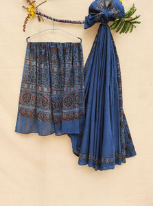 Ajrakh hand block print indigo saree, Ajrakh prints indigo dyed cotton saree, Ajrakh prints sari, Hand block print ajrakh saree in indigo color