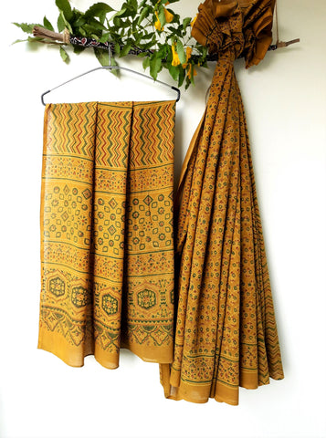 Carnation - Turmeric yellow ajrakh saree