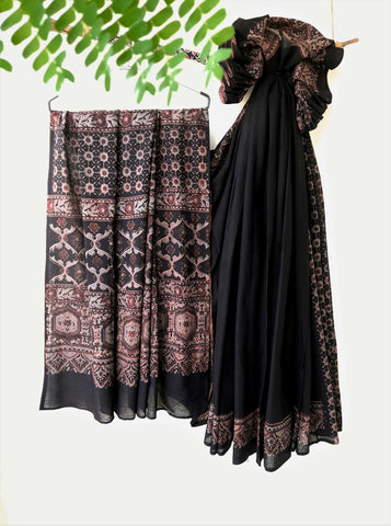 Ajrakh hand block print black saree, Handmade black ajrakh saree, Natural dyed ajrakh saree, Ajrakh prints cotton saree in black color