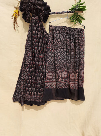 Ajrakh prints black saree, Ajrakh hand block print cotton saree in black color, Ajrakh prints sari