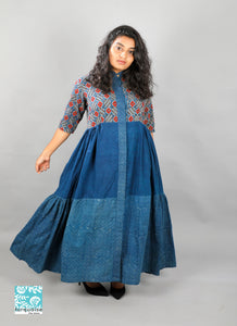 Indigo tiered dress