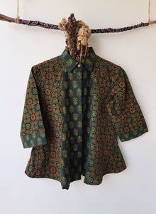 Green ajrakh prints women's shirt, Ajrakh hand block print women's shirt, Green color women's shirt