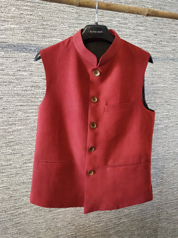 Madder red ajrakh men's nehru jacket