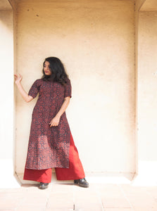 Ajrakh kurta palazzo set in black & maroon color