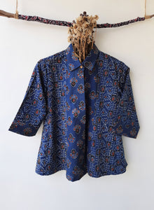 Indigo dyed ajrakh women's shirt, Ajrakh hand block print women's shirt in indigo color, Ajrakh prints women's shirt in cotton