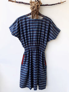 Stripes indigo dress, Indigo summer dress, Indigo cotton dress, Ajrakh hand block print indigo dress