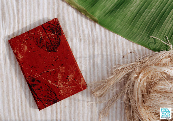 Banana paper journal, Handmade luxury banana paper journal, Madder red organic cotton banana paper journal, handmade banana pulp paper journal