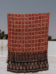 Madder dyed ajrakh modal silk dupatta, Ajrakh prints checks dupatta, panetar design ajrakh dupatta in madder red and black color