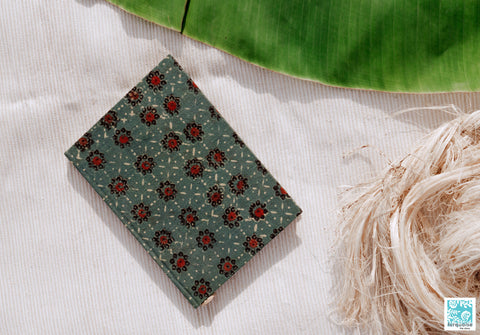Banana paper journal, Handmade luxury banana paper journal, Henna green organic cotton banana paper journal, handmade banana pulp paper journal, Ajrakh hand block print diary