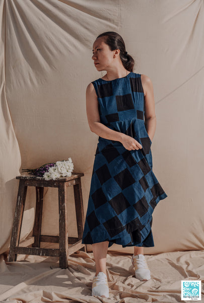 Indigo dyed dress, Ajrakh hand block print indigo dress, Indigo dress, Ajrakh hand block print dress, Indian prints dress, Indigo dyed dress, Hand block print indigo dress