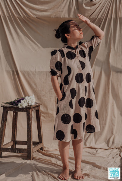 Hand block print polka dots dress, Ajrakh dress, Handmade polka dots dress, Button down shirt dress, Beige hand block print shirt dress