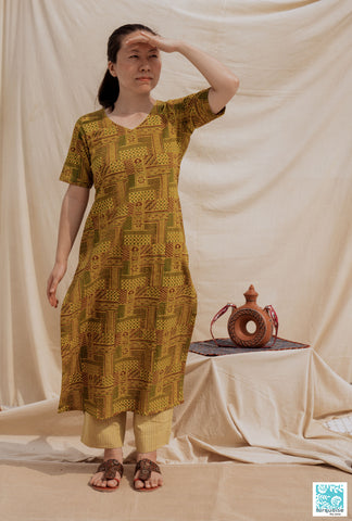 Ajrakh hand block print turmeric yellow kurta pant set, Indian block prints kurta set in cotton, Yellow kurta pants set