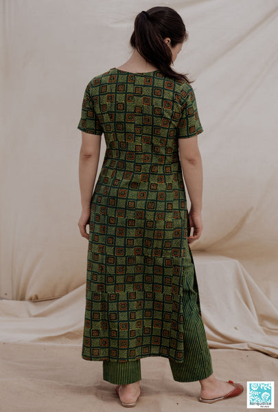 Ajrakh hand block print kurta pants set, Green ajrakh prints kurta set, Indian block prints women's kurta pant set