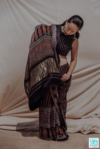 Ajrakh black modal silk saree, Ajrakh prints black saree, Black ajrakh prints sari, Ajrakh hand block prints saree