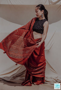 Ajrakh hand block print madder red saree, Madder dyed ajrakh prints saree, Ajrakh prints cotton saree