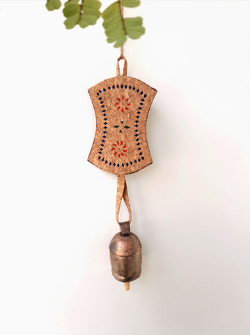 Natural cork copper bell wind chime, Cork wind chime, Copper cow bell, Cork cow bell, Handmade cork wind chime