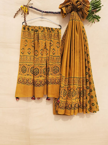 Ajrakh hand block print turmeric yellow saree, Ajrakh prints cotton saree, Turmeric yellow ajrakh prints sari, Ajrakh sari
