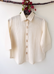 Off white organic cotton women's shirt, undyed organic cotton women's shirt, Off white women's shirt, handspun white shirt, Handwoven women's shirt in organic cotton
