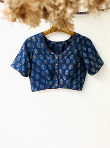 Indigo dyed ajrakh cotton blouse, Indiggo ajrakh prints saree blouse, Indigo ajrakh blouse