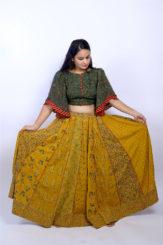Turmeric yellow ajrakh skirt & crop top