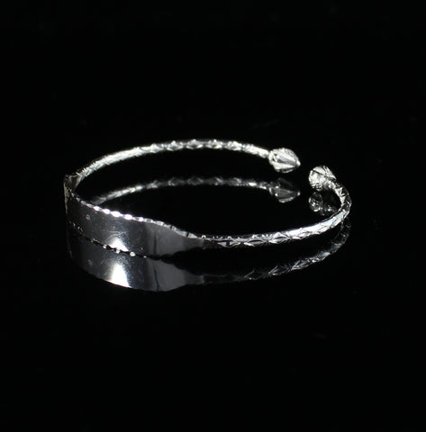Engravable Baby 065 West Indian Bangle with Cocoa Pods Handmade in 925 Sterling Silver