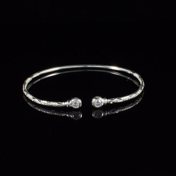 090 West Indian Bangle with White CZ April Birthstone Handmade in Sterling Silver