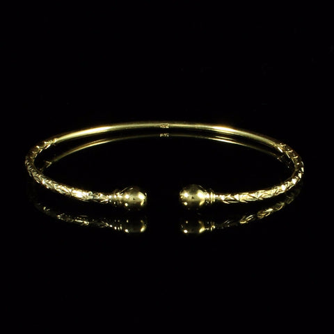 090 West Indian Bangle with Solid Ball Calypso Pattern Handmade in 10K Yellow Gold