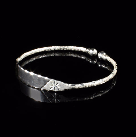 Engravable 090 West Indian Bangle with Solid Ball and Bamboo Pattern Handmade in 925 Sterling Silver