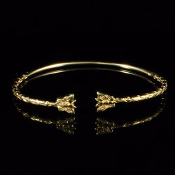 080 West Indian Bangle with Butterflies Handmade in 10K Yellow Gold