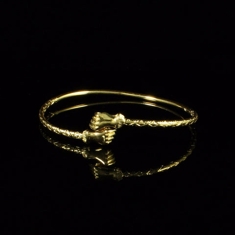 080 West Indian Bangle with Fists Handmade in 10K Yellow Gold
