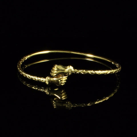 090 West Indian Bangle with Fists Calypso Pattern Handmade in 10K Yellow Gold