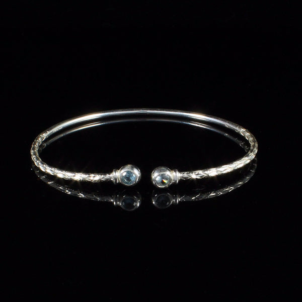 090 West Indian Bangle with Synthetic Aquamarine March Birthstone Handmade in Sterling Silver