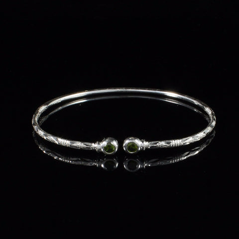 090 West Indian Bangle with Synthetic Emerald May Birthstone Handmade in Sterling Silver