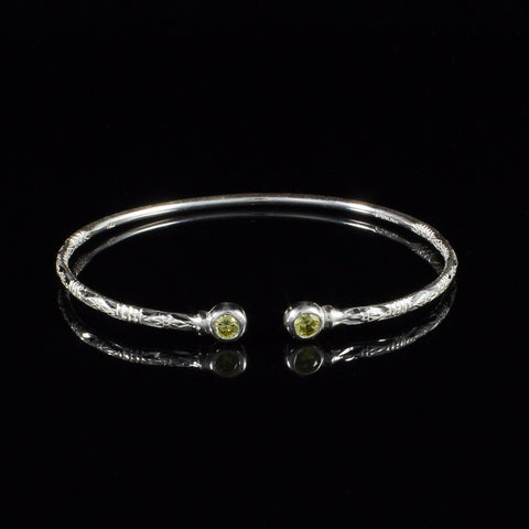 090 West Indian Bangle with Synthetic Yellow Topaz November Birthstone Handmade in Sterling Silver