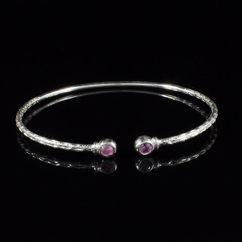 090 West Indian Bangle with Pink CZ October Birthstone Handmade in Sterling Silver