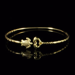 090 West Indian Bangle with Turtle and Dolphin Calypso Pattern Handmade in 10K Yellow Gold