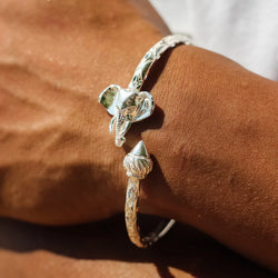 180 West Indian Bangle with Elephant Heads and Taj Mahal Handmade in 925 Sterling Silver