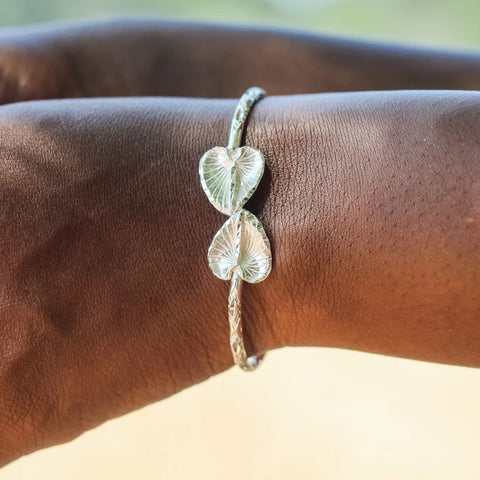 110 West Indian Bangle with Anthurium Handmade in 925 Sterling Silver