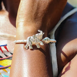180 West Indian Bangle with Elephant and Taj Mahal Handmade in 925 Sterling Silver