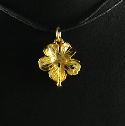 West Indian Large Hibiscus Flower Pendant in 10K Gold