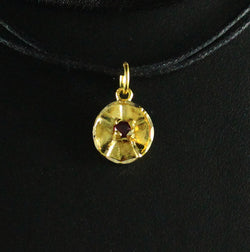 Medium Trinidad Steel Pan or Steel Drum with Stone Pendant in 10K Yellow Gold