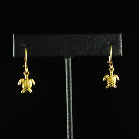 Caribbijou Small Sea Turtle Short Earring in 10K Yellow Gold