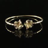 110 West Indian Bangle with Large Hibiscus and Calypso Pattern Handmade in 10K Yellow Gold