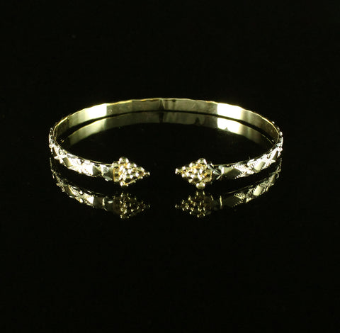 Flat West Indian Bangle with Diamond pattern and Grape Bunch in 10K Yellow Gold