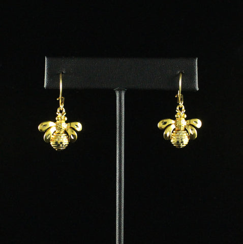 Caribbijou Large Bee Short Earring in 10K Yellow Gold