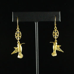 Large West Indian Humming Bird with Extender Flower Long Earring in 10K Yellow Gold