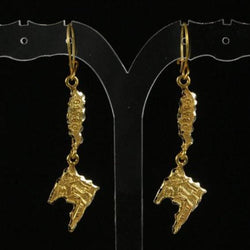 Trinidad & Tobago Map Earring Hanging Long made in 10 Karat Yellow Gold