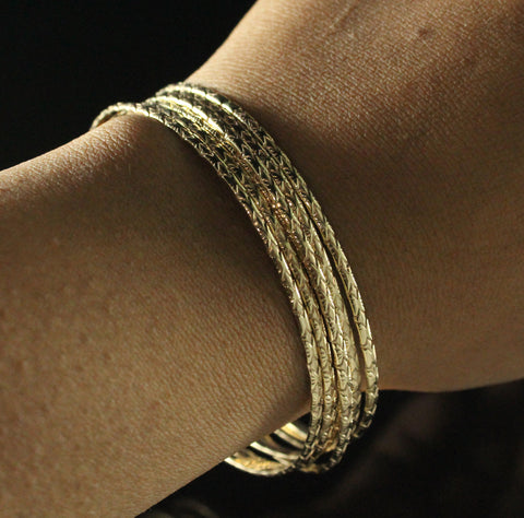 Flat 2mm West Indian Jingle Various Widths in Calypso Pattern Handmade in 14K Gold - SOLD INDIVIDUALLY