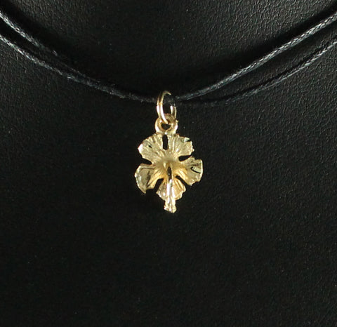 West Indian Tiny Hibiscus Flower Pendant in 10K Gold