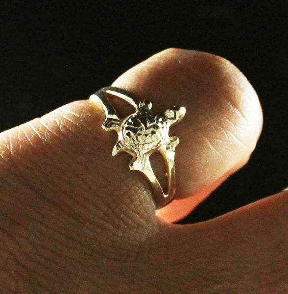 Tiny Turtle Ring made in 10K Yellow Gold